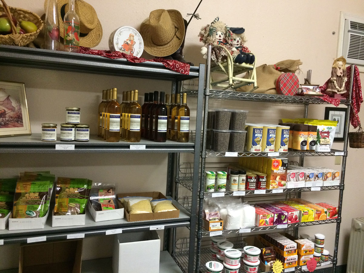 A photo of product and shelves inside the Grants Pass Veggie Food store.