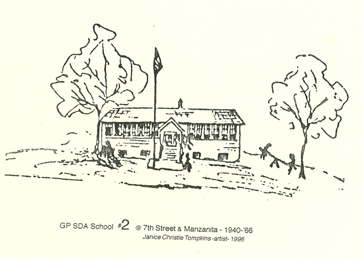 A drawing of Grant Pass Seventh-Day Adventist school from 1940-1960