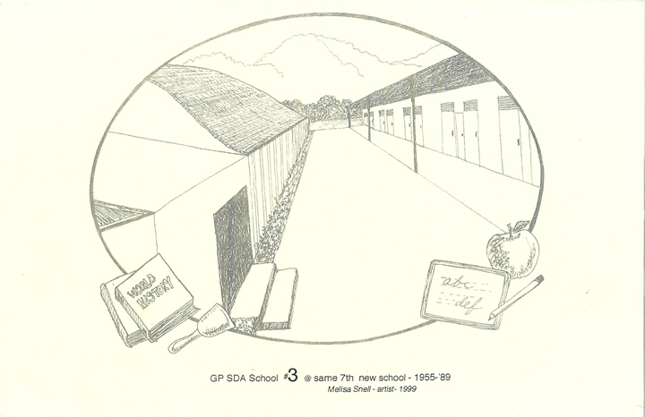 A drawing of Grant Pass Seventh-Day Adventist school from 1955-1989