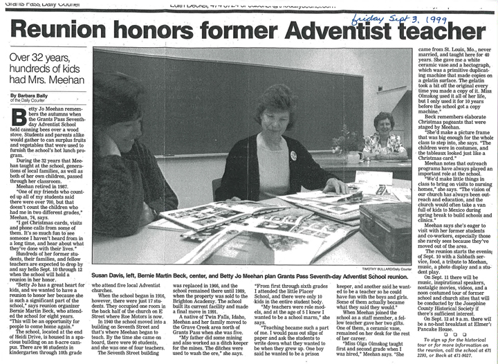 An image of a news article from September 3, 1999 about a reunion honoring a former Adventist teacher.