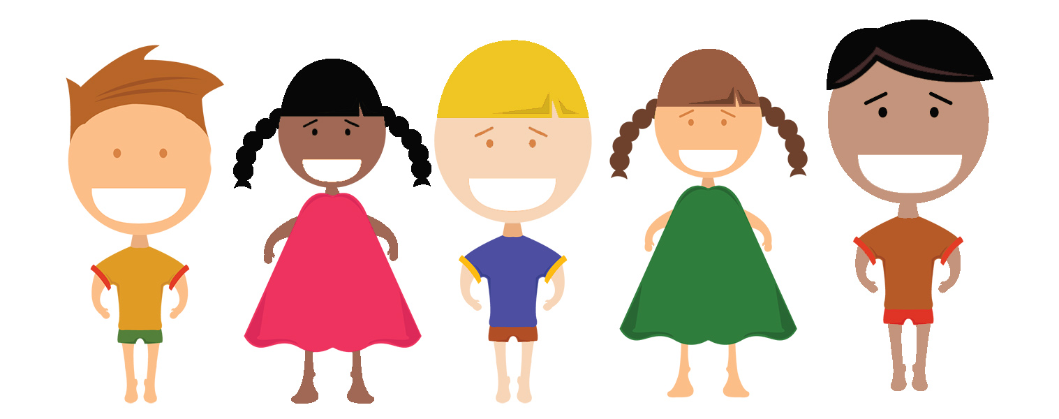 A cartoon drawing of two female and three male children.